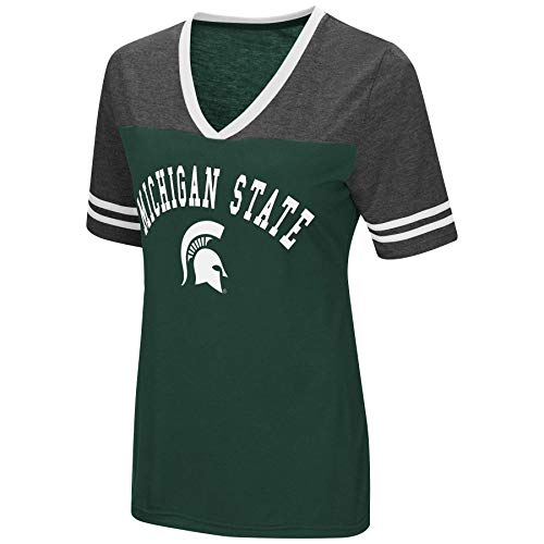 Michigan State Ladies T-shirt - Colosseum Women's NCAA Varsity Jersey V-Neck T-Shirt-Michigan State Spartans-Medium