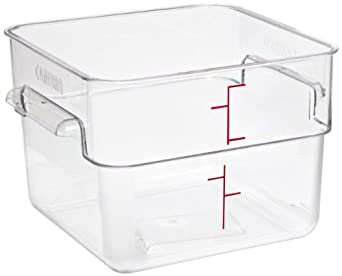 """Cambro 12SFSCW 12 qt Capacity, 11-1/4"""" Length x 12-1/4"""" Width x 8-1/4"""" Height, CamSquare Camwear Clear Polycarbonate Food Storage Container (Cover Sold Separately)"""