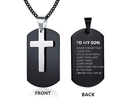 Dog Cross Tag Pendant - LiFashion LF Stainless Steel Personalized Name Custom to My Son Cross Dog Tag Pendant Necklace for Son Sentiment Motivational Quote Engraved for Christmas Birthday Gift from Dad Mom,Free Engraving