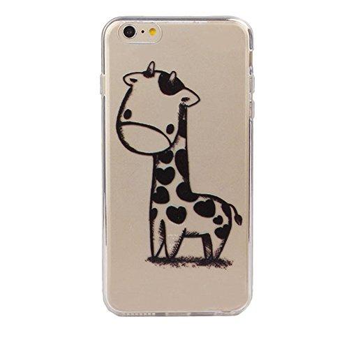 Sannysis für iPhone 6s Plus 5.5Inch,Giraffen-Druck-Transparent weicher TPU Fall