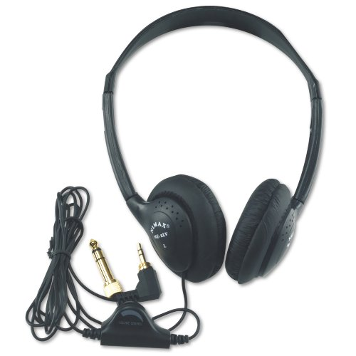 AmpliVox SL1006 Personal Multimedia Stereo Headphones with Volume Control - Black