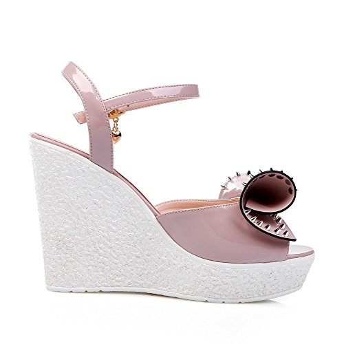 High Womens Open Sandals Heels with Pink Toe Solid AmoonyFashion Bows Pu Buckle f4qfYd