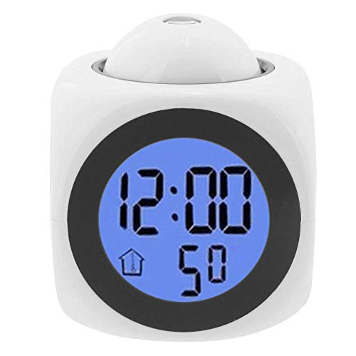 LED Digital Alarm Clock, Projector Voice Talking Battery Powered Indoor Temperature Snooze Kids Wake Up Desk Art Clock Decoration