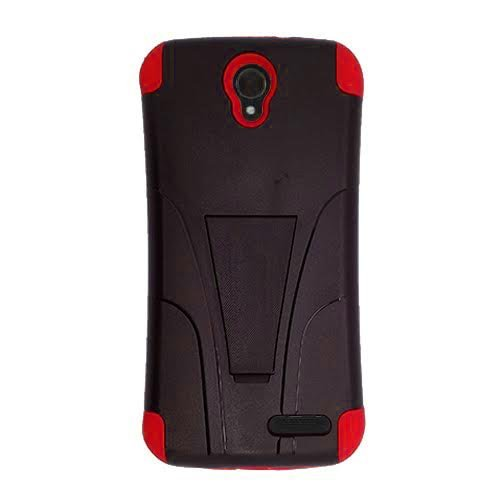 Phone Case for ZTE ZMAX-GRAND LTE , ZTE ZMAX-Champ 4G LTE (Total Wireless) Case, Warp 7 (Boost Mobile)/ ZTE Grand X 3 (Cricket Wireless) Hybrid Cover Case Kickstand + Screen Protector (Red-black)