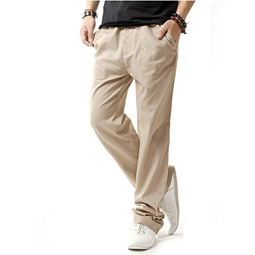 HOEREV Men Casual Beach Trousers linen  Summer Pants, Beige, Medium (Living Beach Vero)