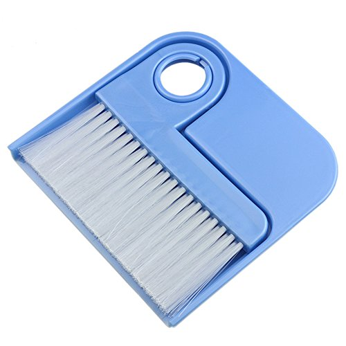 MXY Broom and Dustpan Set Plastic Handle Mini Corner Cleaner Angle Brush for Sofa, Desk, Car Mat, Bed, Keyboard and More (Blue)