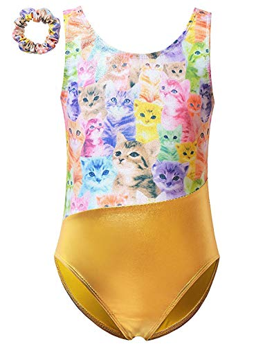 Gold Metallic Gymnastics Leotards for Girls Cat Outfits Dance Body-Suits -