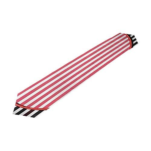XPowerX Table Runner Heart Black White Striped Home