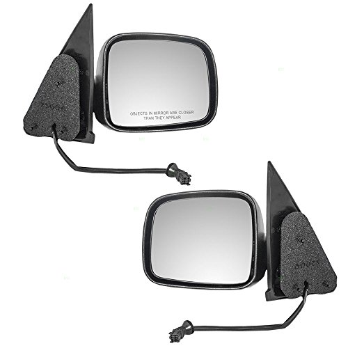 Driver and Passenger Power Side View Mirrors Textured Replacement for 02-07 Jeep Liberty SUV 55155843AI ()