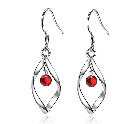 UEUC Classic Doule/Single Linear Loops 14K Sterling Silver Twist Wave Earrings for Women - Loop Earrings Red