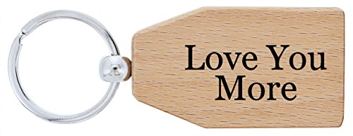 ThisWear Wooden Anniversary Gifts Love You More Couples Boyfriend Girlfriend Wood Keychain Key Tag 5th Anniversary