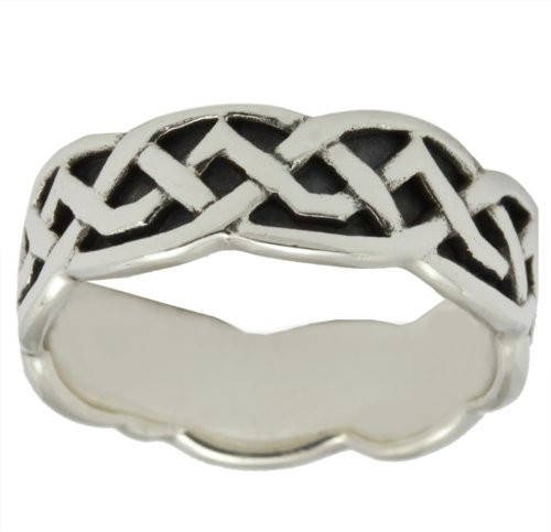 US Jewels And Gems Ladies Sterling Silver Irish Celtic Ring Band (Size 4) by US Jewels And Gems