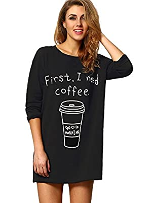 SheIn Women's Round Neck Coffee Print Long T-Shirt