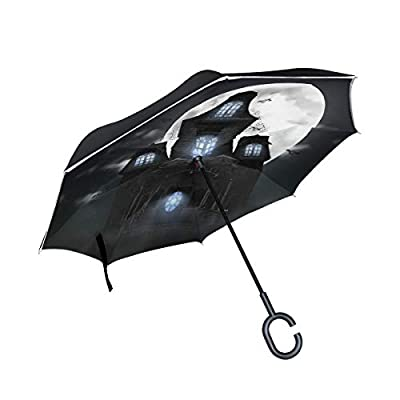 Sunmoonet Reverse Umbrella, Halloween Scary House, Outdoor Windproof Double Layer Inverted Umbrella Rain Protection Upside Down Car Reverse UV Umbrellas for Men Women