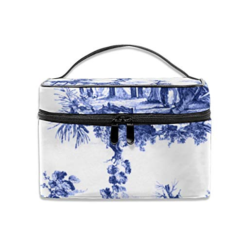- Blue chinoiserie toile Portable Travel Makeup Bag Cosmetic Organizer Tote Bag for Women Girls