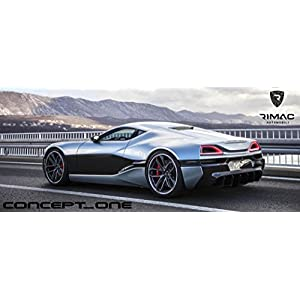 Rimac Concept One Printed Car Poster 58x24 Large Electric Supercar Art
