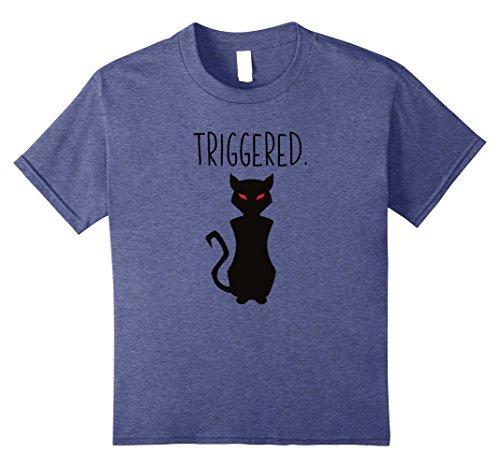 Kids TRIGGERED CREEPY CAT SHIRT EVIL MEME KITTY LOVER GIFT SHIRT 10 Heather Blue