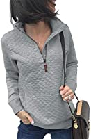 BTFBM Women Fashion Quilted Pattern Lightweight Zipper Long Sleeve Plain Casual Ladies Sweatshirts Pullovers Shirts Tops
