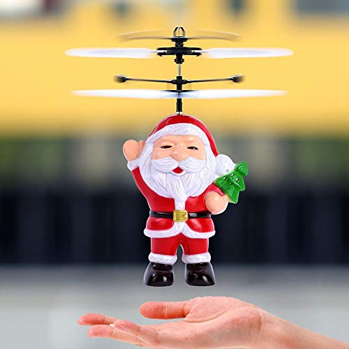 12' Rc Helicopter - Christmas Santa Claus Helicopter LED Light Toy, Witspace Christmas Electric Infrared Sensor Flying Ball