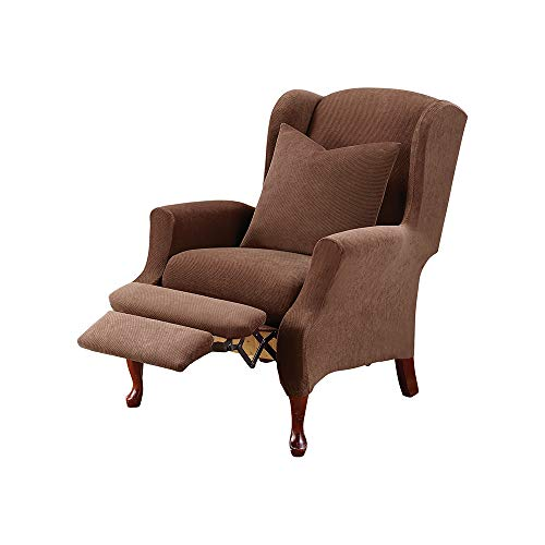 (SureFit Stretch Pique - Reclining Wing Chair Slipcover - Chocolate)