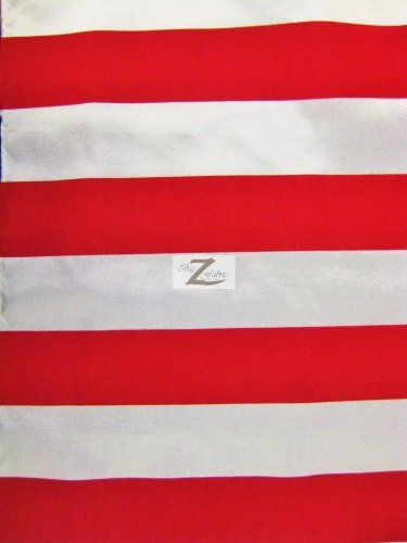 STRIPED FLOCKED TAFFETA FABRIC - White/Red - 2