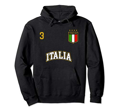 Italy Soccer Team Hoodie Number 3 Sports Italian Flag Shirt