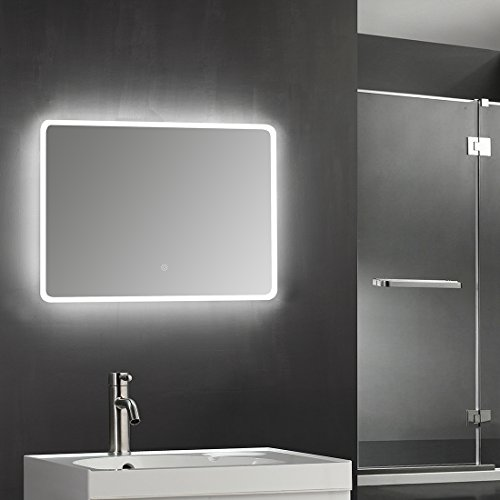 "SUNNY SHOWER 36"" W x 28"" H Backlit Led Bathroom Vanity Sink Silvered 5mm Mirror with Touch Button by SUNNY SHOWER"