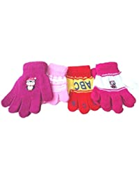 Set of Four Pairs Magic Stretch Microfiber Lined Gloves for Ages 1-4 Years