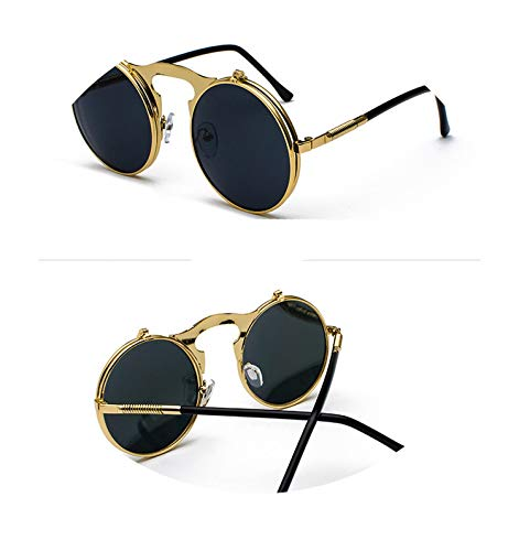 Classic Men Round Flat Coating Sunglasses Fashion Male luxury Gold Frame Open Lens Sun Glasses,HX3057-GB (Case Online India Sunglasses)
