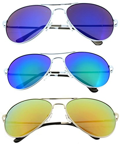 Aviator Sunglasses Classic Look 3-Pack Revo Blue, Red, Green Lens and Silver Frame w/Spring - Blue Aviators Green