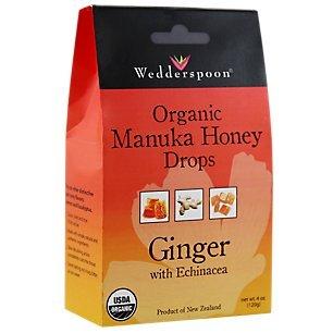 Wedderspoon Organic Manuka Honey Lozenges with Ginger and Echinacea, 4 Ounce