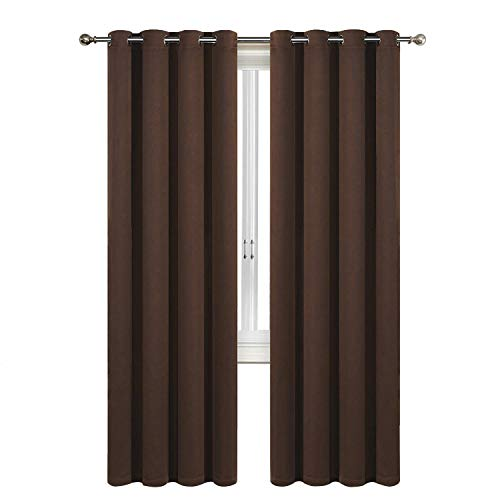 - SUO AI TEXTILE Home Fashion Thermal Insulated Drapes Solid Grommet Blackout Curtain Panels for Living Room(2 Panels,52x84 Inch,Brown)