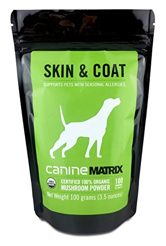 Cheap Canine Matrix Organic Mushroom Supplement for Dogs and Cats, Skin & Coat: Supports Pets with Seasonal Allergies, 100 Servings, 3.5oz, 100 Grams