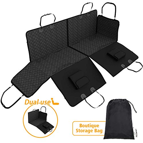 Focuspet Dog Car Seat Covers Water-Proof & Non-Slip Back Seat Cover for Pets Seat Hammock 600D Heavy Duty Durable Nonslip Bfor Cars Trucks and SUVs Full Car Protection-Doors, Headrests & Backseat