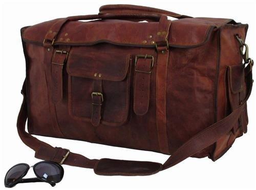 24インチメンズレトロスタイルCarry On Luggageフラップダッフルレザーバッグbyトム& Cloversバッグ   B07DKBSK5C