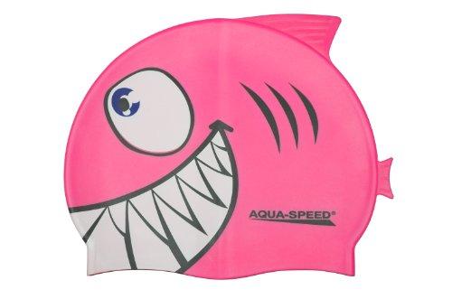 Aquaspeed Shark Kinder Bademütze Hai Badekappe , Modell [A]:Shark / rosa 03