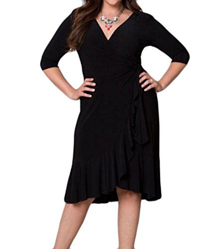 4 3 Dress V Sleeve Womens Black Neck Mid Length Comfy Solid Flouncing Oversized qR0xUYa