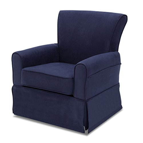 Delta Furniture Benbridge Upholstered Glider Swivel Rocker Chair, Navy by Delta Children