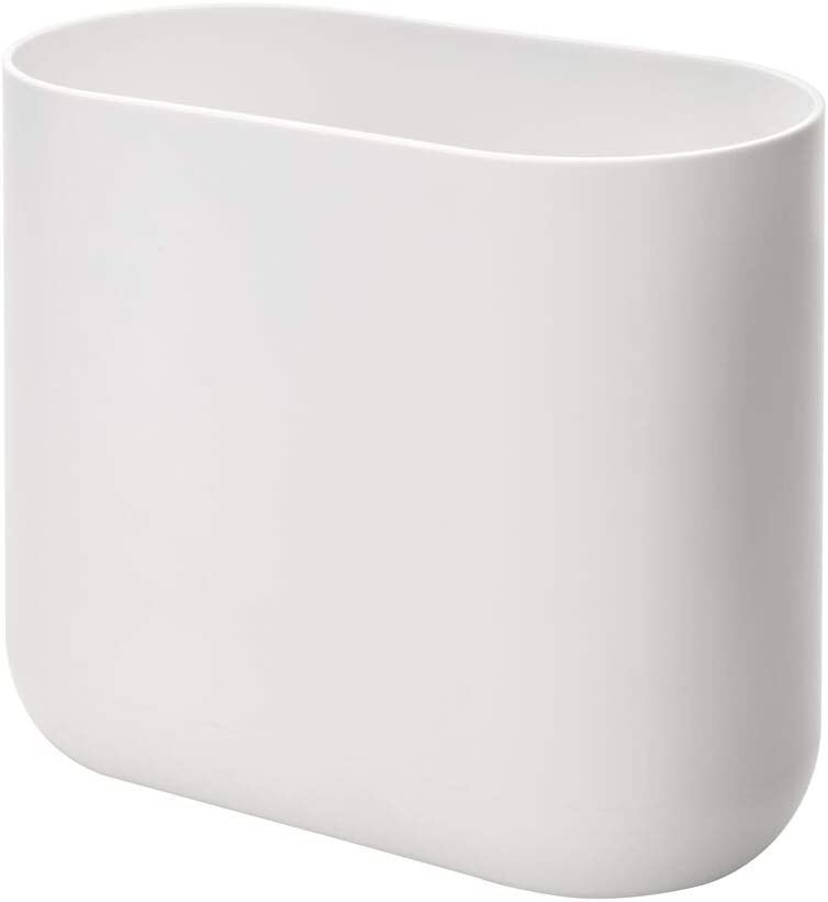 iDesign Cade Slim Bathroom Trash, Bedroom, Kitchen, Office-White, Waste Can