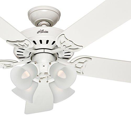 Hunter Fan 52 inch White Ceiling Fan with a Frosted Glass Light Kit, 5 Blade Renewed