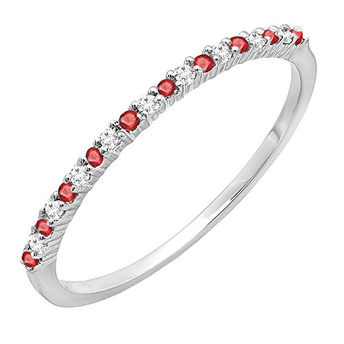 14K White Gold Round Ruby & White Diamond Ladies Anniversary Wedding Stackable Ring (Size 7) (Wedding Ruby Anniversary Band)