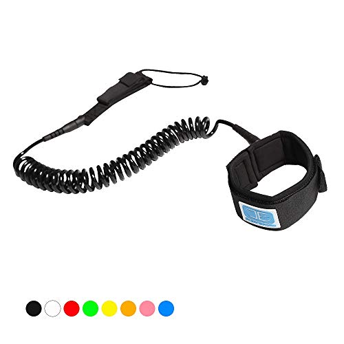 Ocean Broad 10' Coiled Leash for Paddle Board Surfboard SUP Leash Leg Rope with Adjustable Thigh Ankle Cuff