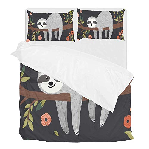 Cooper girl Cartoon Sloth in Flowers Jungle Duvet Cover Set Twin Soft Microfiber Polyester 1 Duvet Cover and 1 Pillow Sham Two Piece ()