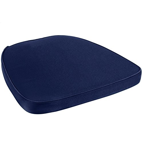 Chair Pad | Seat Padded Cushion with a Polycore Thread Soft Fabric with Straps and Removable Zippered Cover (Blue) (Wicker Hearts Cheap)