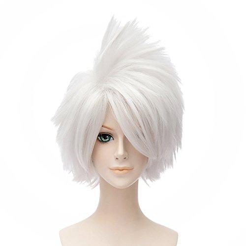 HH Building Naruto Shippuden Anime Cosplay Wig Hatake Kakashi Men's Spiky Short Wig Hair (White)