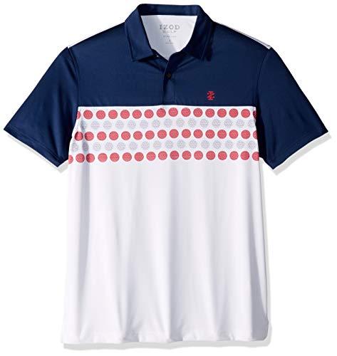 IZOD Men's Golf Fashion Short Sleeve Polo Shirt, Club Blue Large