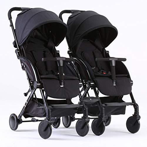 Double Stroller, Side by Side Tandem Umbrella Stroller, Infant Pram, Quick Fold/Suspension Shock Absorbing/Safety Seats/Easy to Maneuver/Detachable (Color : Black)