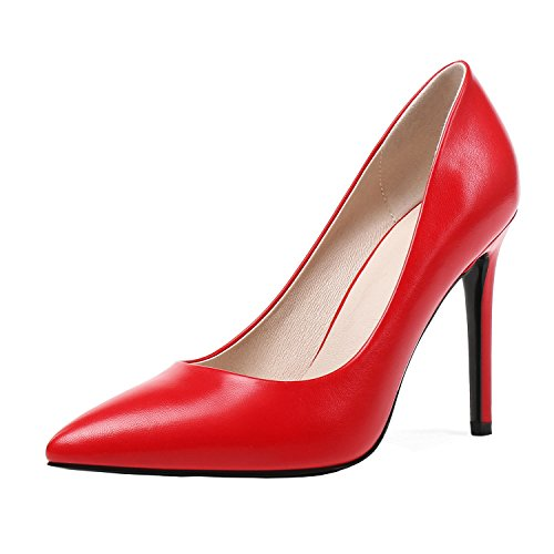 - Odetina Red Women's Sexy Pointed Toe Stilettos Slip-On Thin High Heels Pumps Size 8 (B) M US
