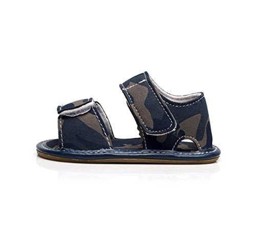 IGEMY Vintage Neugeborenes Baby Boy Leder Tarnung Sandalen Sommer weiche flache Schuhe Blau