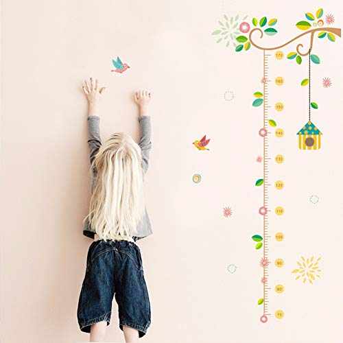 lity - Wall Stickers - Flower Branch Tree Birdcage Height Measure Growth Chart Wall Stickers Home Decor Removable Mural Baby Gift Poster Nursery Decal - 1 PCs ()